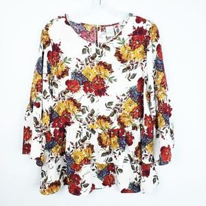 Time and Tru Plus Size Floral Fall Ruffle Blouse